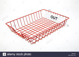 Wire Mesh Desk Accessories by Empty Red Wire Mesh Office Post Out Tray For Out Going Mail Stock