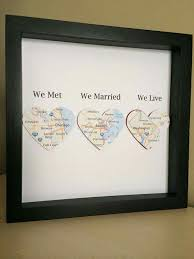 personalized anniversary gifts heart shaped map canvas with your 3 location heart map