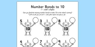 number bonds to 10 on robots worksheet arabic translation