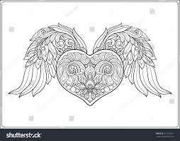 decorative patterned love heart angel wings stock vector 511015321