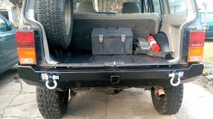 jeep comanche spare tire carrier 89 cherokee jcr crusader rear bumper w led install youtube