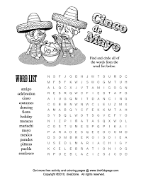 cinco mayo word puzzle free coloring pages kids