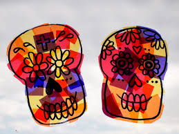 make sugar skull sun catchers and crystallized sugar skull