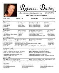 Theatrical Resume Sample by Acting Resume Template For Microsoft Word Sample Of Acting Resume