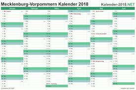 Kalender 2018 Feiertage Mv Excel Kalender 2018 Kostenlos