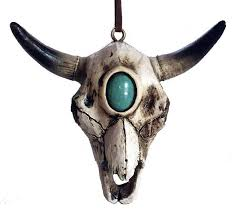 fancy cow skull ornament pole west cowboy