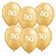 50th birthday balloons 12 inch glitz 50th birthday balloons pack of 6 gold