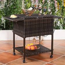 wicker patio cooler cart outdoor pool party portable trolley