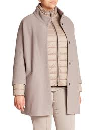 Womens Car Coat Basler Boiled Wool Car Coat U0026 Puffer Jacket Set In Gray Lyst