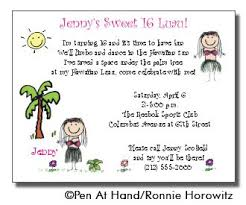 luau theme personalized party invitations by the personal note