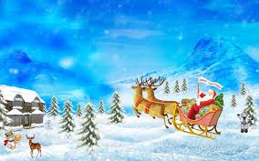 download wallpaper 3840x2400 santa claus reindeer sleigh