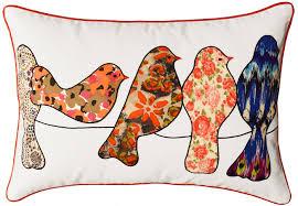 Lumbar White Birds Wire Decorative Pillow Cover Cotton Applique