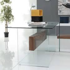 bureau en verre achat de bureau tendance lobby en verre et noyer à prix cassé