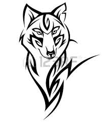 wolf tribal tattoo black isolated on white royalty free cliparts