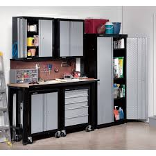 Diy Garage Storage Cabinets Black And Silver Color Metal Garage Storage Cabinet On Wheels With