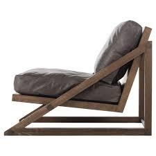 Leather Lounge Chair Resource Decor Teddy Lodge Angular Ash Leather Lounge Chair