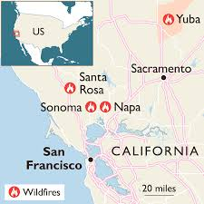 Sonoma California Map California Fires Claim 11 Lives And Force 20 000 To Flee World
