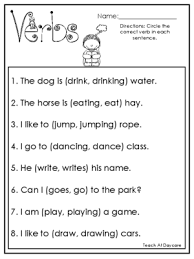 10 choose the correct verb printable worksheets in pdf file 1st