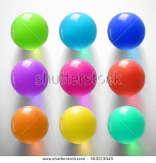 set glossy colored balls on white stock vector 563219545