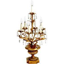 Candelabra Light Fixtures Large Italian Gilt Tole And Crystal Candelabra Lamp At 1stdibs