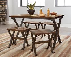 Rustic Dining Room Table Rustic Dining Set With Four Stools By Standard Furniture Wolf