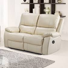 Stylish Recliner by Cameo Ivory Cream Leather Power Electric Recliner Sofa Collection
