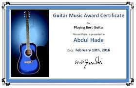 guitar music award certificate template worksheets pinterest