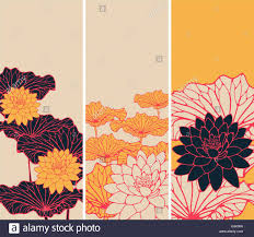 a set of asian style floral bookmarks with lotus flowers and