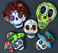 set of 5 sugar skulls made and painted ornaments magnets dia