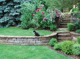 Landscape Ideas For Sloping Backyard Ceramic For Retaining Wall Ideas Laluz Nyc Home Design