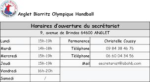 horaire bureau contacts et horaires bureau handball anglet biarritz