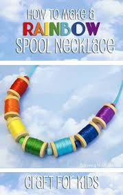 kid craft rainbow spool necklace running with sisters