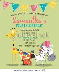 cute animals birthday party invitation card stock vector 450484870