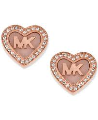 heart ear rings images Michael kors rose gold tone pav logo heart stud earrings tif