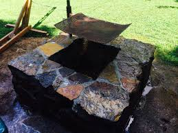 my mostly salvaged totally overbuilt native stone fire pit