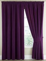 Plum Velvet Curtains Pair Thermal Velour Velvet Plain Dyed Pencil Pleat Curtains In