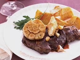 cuisine steak bison rib eye steaks with roasted garlic recipe marcia kiesel