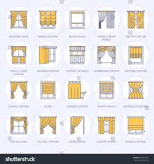 window curtains shades line icons various stock vector 660256675