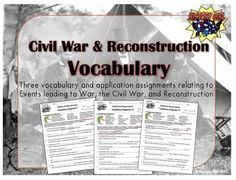 reconstruction the second civil war video cloze worksheets