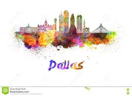 dallas skyline in watercolor stock illustration image 73719808