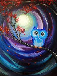 learn to paint owl night long