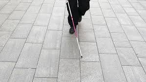 Blind Man Cane Blind Man Walking With His White Cane Slow Motion Stock Footage