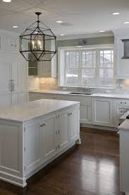 Kitchen Without Backsplash Stone Countertops Rustic White Kitchen Cabinets Lighting Flooring