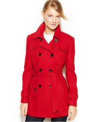 calvin klein double breasted belted pea coat coats women