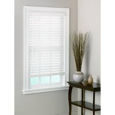 decorating white window with white levolor blinds on white wall
