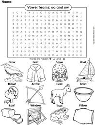 oa ow vowel team phonics worksheet digraphs word search