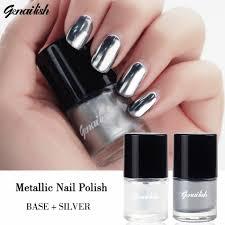 genailish 2pc lot 6ml metallic nail polish silver mirror effect