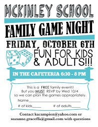 join us for fun and games at mckinley game night october 6