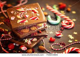 christmas chocolate christmas chocolate bark peppermintdried berries nuts stock photo