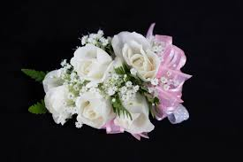 pink corsage white and pink ribbon corsage in san jose ca bee s flowers